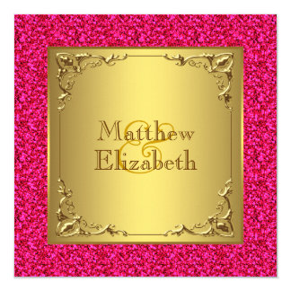"""Hot Pink and Gold Wedding 5.25"""" Square Invitation Card"""