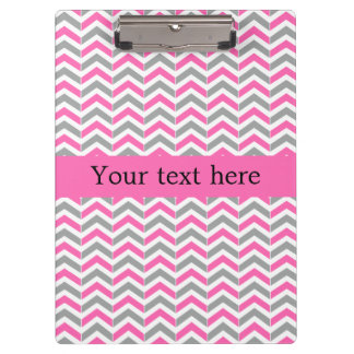 Hot Pink and Gray Chevron Pattern Clipboard