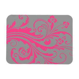 Hot Pink and Gray Floral Chic Wedding Rectangular Photo Magnet