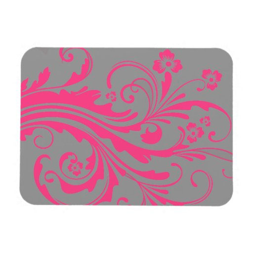 Hot Pink and Gray Floral Chic Wedding Rectangular Magnet