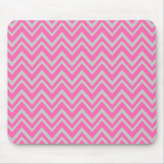 Hot Pink and Gray Zigzag Pattern Mouse Pad