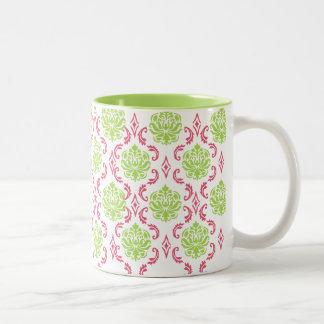 Hot Pink and Green Damask Coffee Mugs