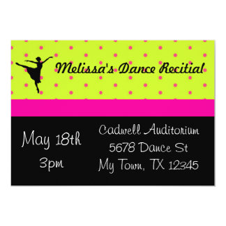 Hot Pink and Green Dance Recital Invitation