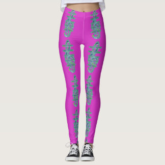 Hot Pink and Green Musical Note Leggings