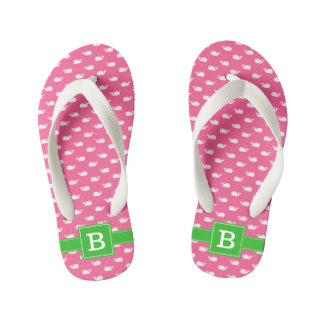 Hot Pink and Green Whales Square Monogram Kid's Thongs
