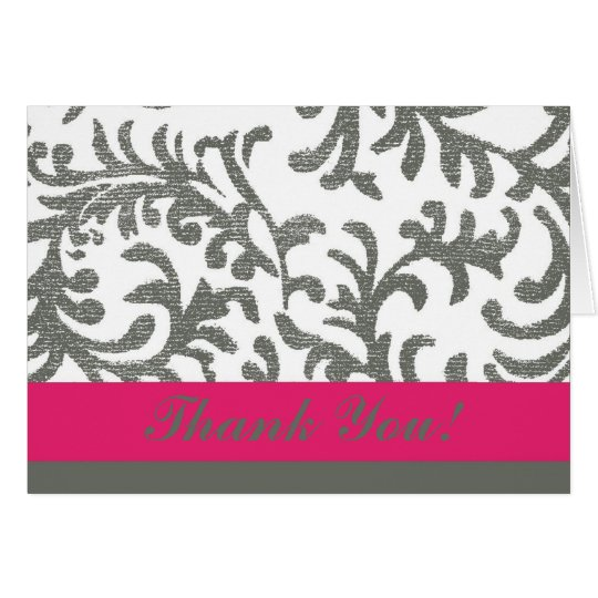 Hot Pink and Grey Floral Thank You Card