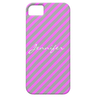 Hot Pink and Grey Stripes iPhone 5 Case