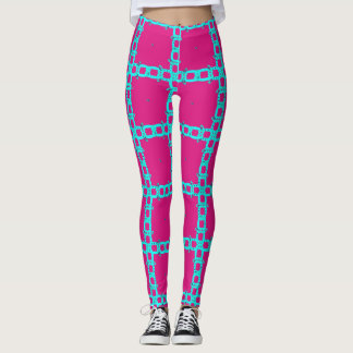 Hot Pink and Light Blue Crazy Chain Leggings