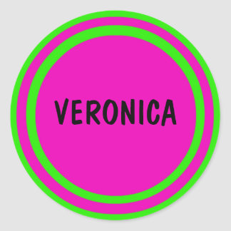 Hot Pink and Lime Green Circles Round Sticker