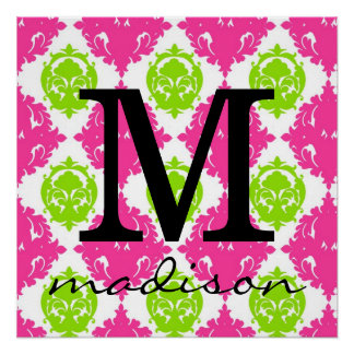 Hot Pink and Lime Green Damask Monogram Print Perfect Poster