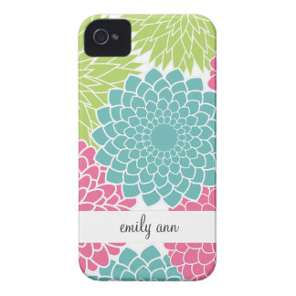 Hot Pink and Lime Green Flowers Pattern iPhone 4 Case-Mate Cases