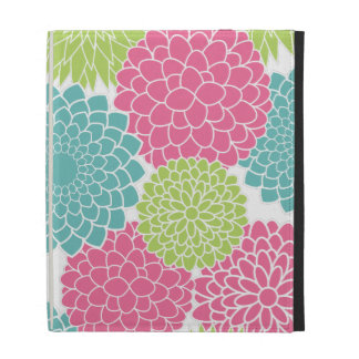 Hot Pink and Lime Green Flowers Pattern iPad Cases