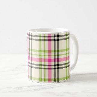 Hot Pink and Lime Green Vintage Plaid Coffee Mug