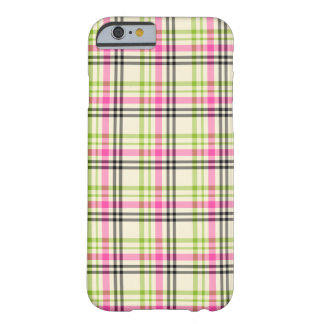 Hot Pink and Lime Green Vintage Plaid Pattern Barely There iPhone 6 Case