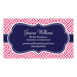Hot Pink and Navy Blue Greek Key Pattern Business Card Template