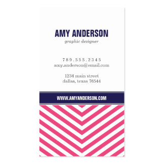Hot Pink and Navy Blue Modern Chevron Stripes Double-Sided Standard Business Cards (Pack Of 100)