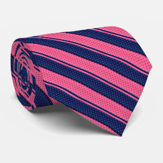 Hot Pink and Navy Blue Polka Dot Stripes Tie
