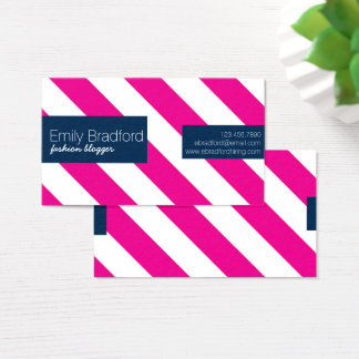 Hot Pink and Navy Blue Striped Business Cards