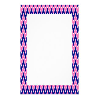 Hot Pink and Navy Blue Zigzag Pattern Stationery