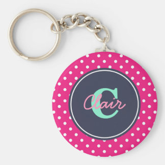 Hot Pink and Navy, Initial, and Name Key Ring