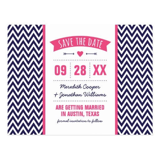 Hot Pink and Navy Modern Chevron Save the Date Post Cards