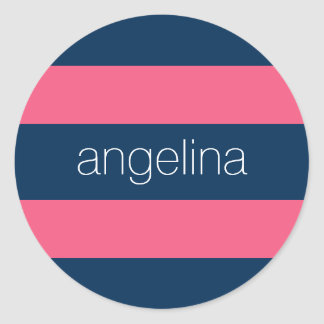 Hot Pink and Navy Modern Rugby Stripes with Name Round Sticker