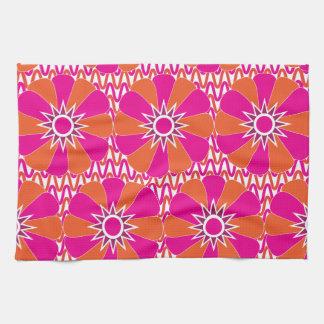 Hot Pink and Orange Bright Flower Pattern Tea Towel