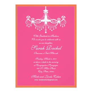 Hot Pink and Orange Chandelier Invitation
