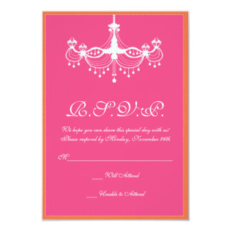 Hot Pink and Orange Chandelier Invitation RSVP
