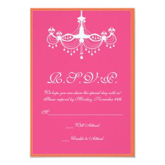 "Hot Pink and Orange Chandelier Invitation RSVP 3.5"" X 5"" Invitation Card"