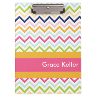 Hot Pink and Orange Chevron Personalized Clipboard