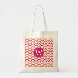 Hot Pink and Orange Chevron Wave Pattern Monogram Bags