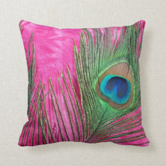 Hot Pink and Peacock Feathers Still Life Cushions