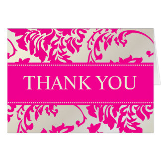 Hot Pink and Pearl Damask Thank You/DIY text Cards