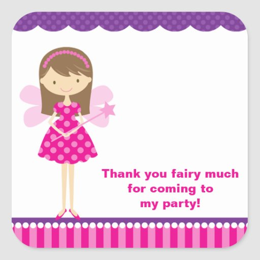 Hot Pink and Purple Fairy Stickers Square Sticker