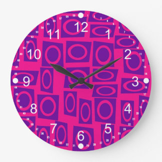 Hot Pink and Purple Fun Circle Square Pattern Wallclock