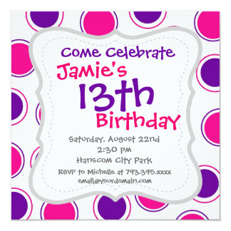 Hot Pink and Purple Polka Dots Concentric Circles 13 Cm X 13 Cm Square Invitation Card