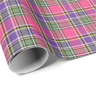 Hot Pink and Purple Vintage Plaid Wrapping Paper
