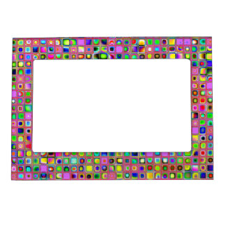 Hot Pink And Rainbow Colors Mosaic Tiles Pattern Photo Frame Magnets