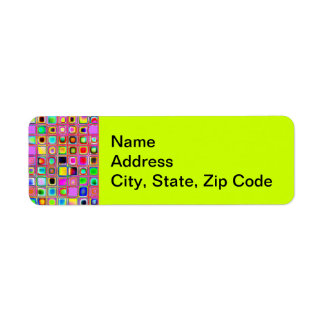 Hot Pink And Rainbow Colors Mosaic Tiles Pattern Return Address Label