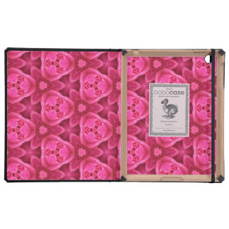 Hot Pink and Red Floral Abstract Rose Pattern Case For iPad