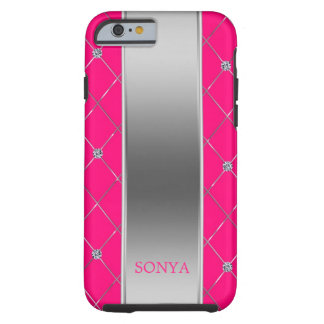 Hot Pink And Silver Geometric Shapes Tough iPhone 6 Case