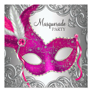 Hot Pink and Silver Mask Masquerade Party Custom Invites