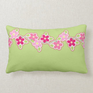 Hot Pink and Spring Green With String of Daisies Lumbar Pillow