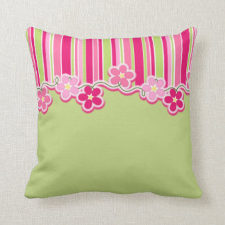 Hot Pink and Spring Green With Stripes and Daisies Cushion