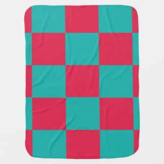 Hot Pink and teal Checkerboard Baby Blanket