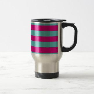 Hot Pink and Teal Stripes Travel Mug