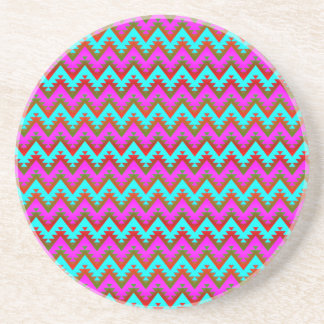 Hot Pink and Turquoise Aztec Chevron Stripes Beverage Coaster