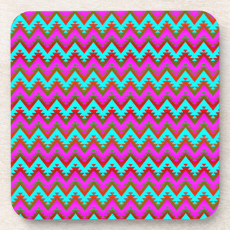Hot Pink and Turquoise Aztec Chevron Stripes Coaster