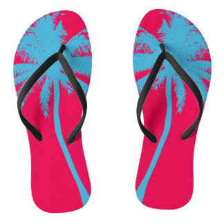 Hot Pink and Turquoise Plam Tree Flip Flops Thongs